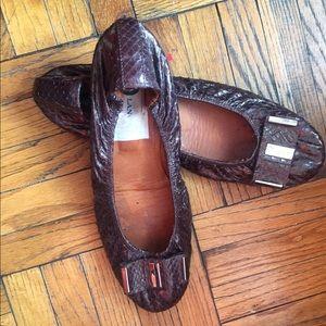 LANVIN Metallic Croc Brown Ballet Bow Flats 38